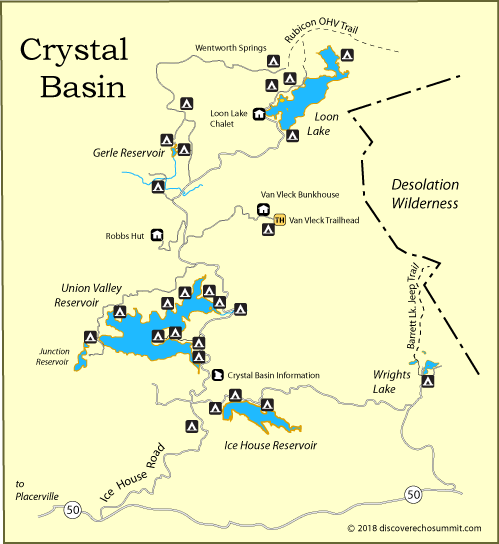 map of the Crystal Basin in El Dorado National Forest, CA