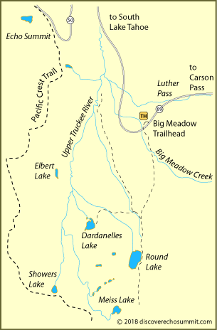 map of trail to Dardanelles Lake in Meiss Country, El Dorado National Forest, CA