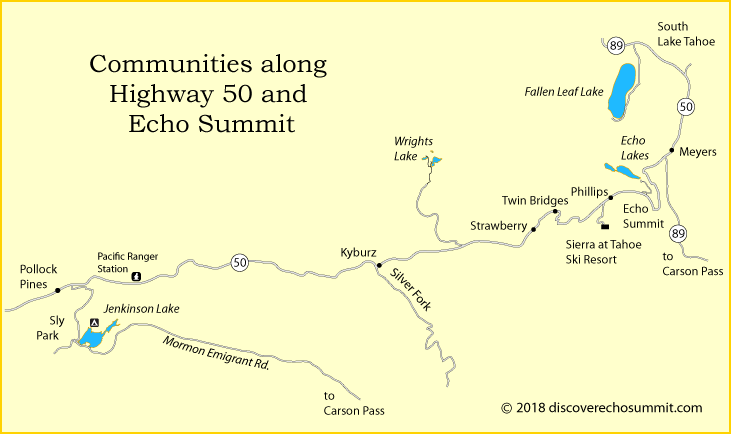 map ofcommunities along Highway 50 from Pollock Pines to South Lake Tahoe, CA