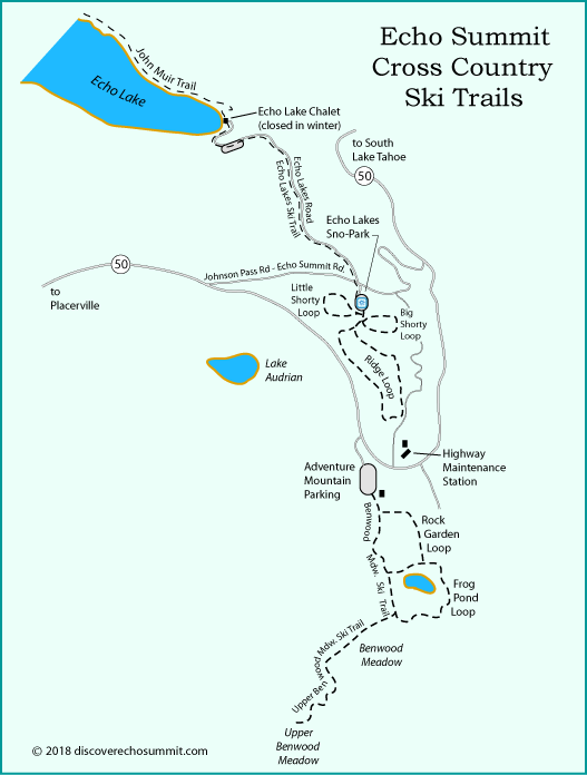 map of cross country ski trails on Echo Summit, CA