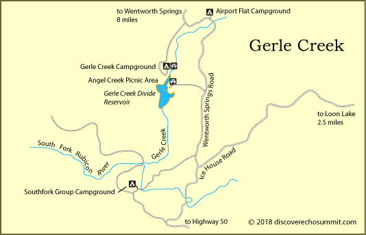 map of Gerle Creek area campgrounds, El Dorado National Forest, CA
