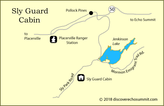 map of Sly Guard Cabin, El Dorado National Forest, CA