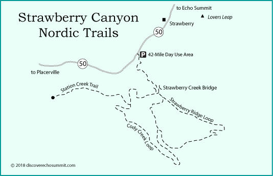 map of cross country ski trails in Strawberry Canyon along Highway 50 near Echo summit, CA