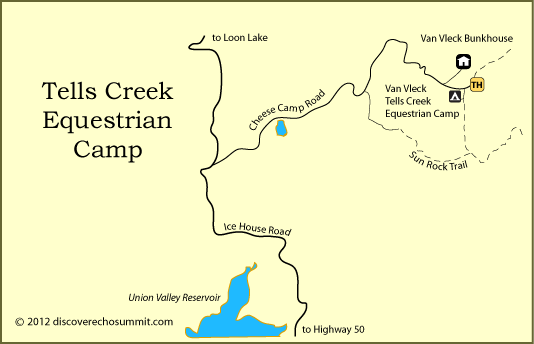 map of Tells Creek Horse Camp, El Dorado National Forest, CA