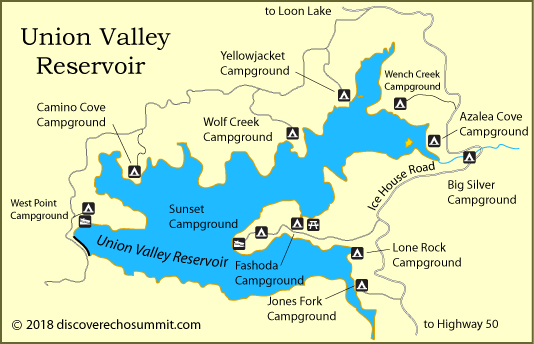 map of campgrounds at Union Valley Reservoir, CA