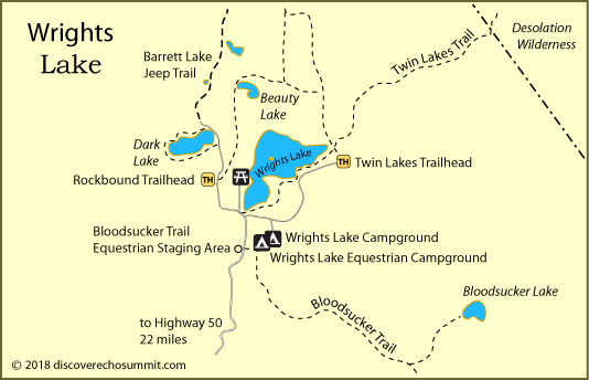map of Wrights Lake campgrounds, El Dorado National Forest, CA