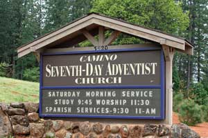 Photo of Seventh Day Adventist Church sign,  CA