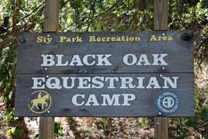 Photo of Black Oak Equestrian Camp sign, Eldorado National Forest, CA